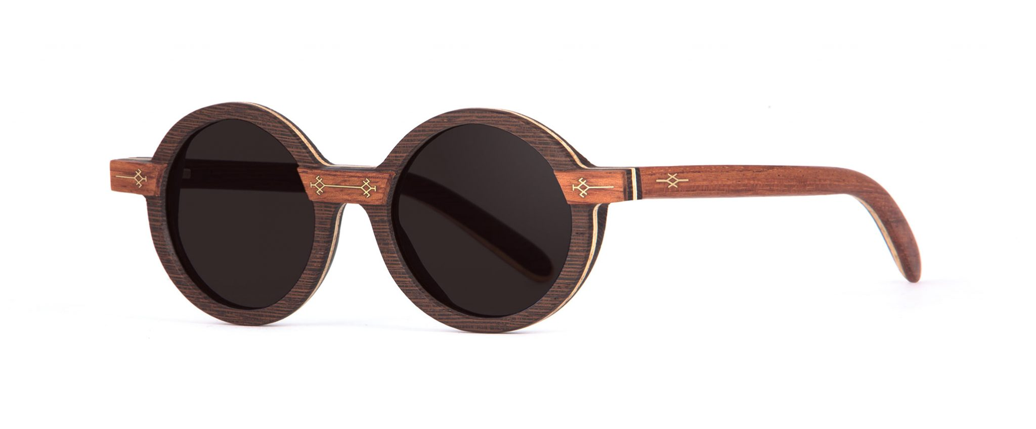 Dihya Wenge Wood Round Designer Sunglasses VAKAY with Gold