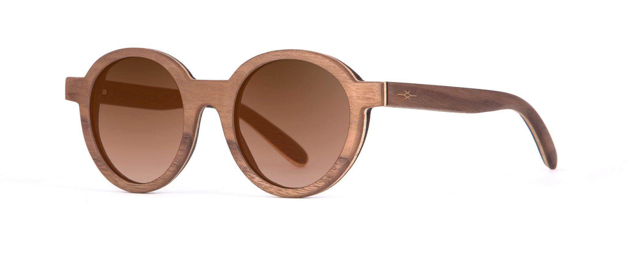 Hippy Walnut Round Designer Sunglasses VAKAY
