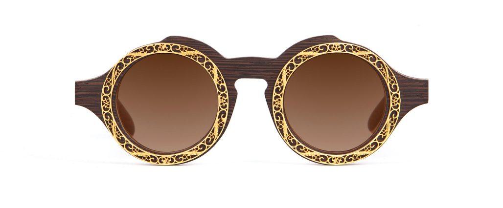 Lella Wenge Round Designer Sunglasses