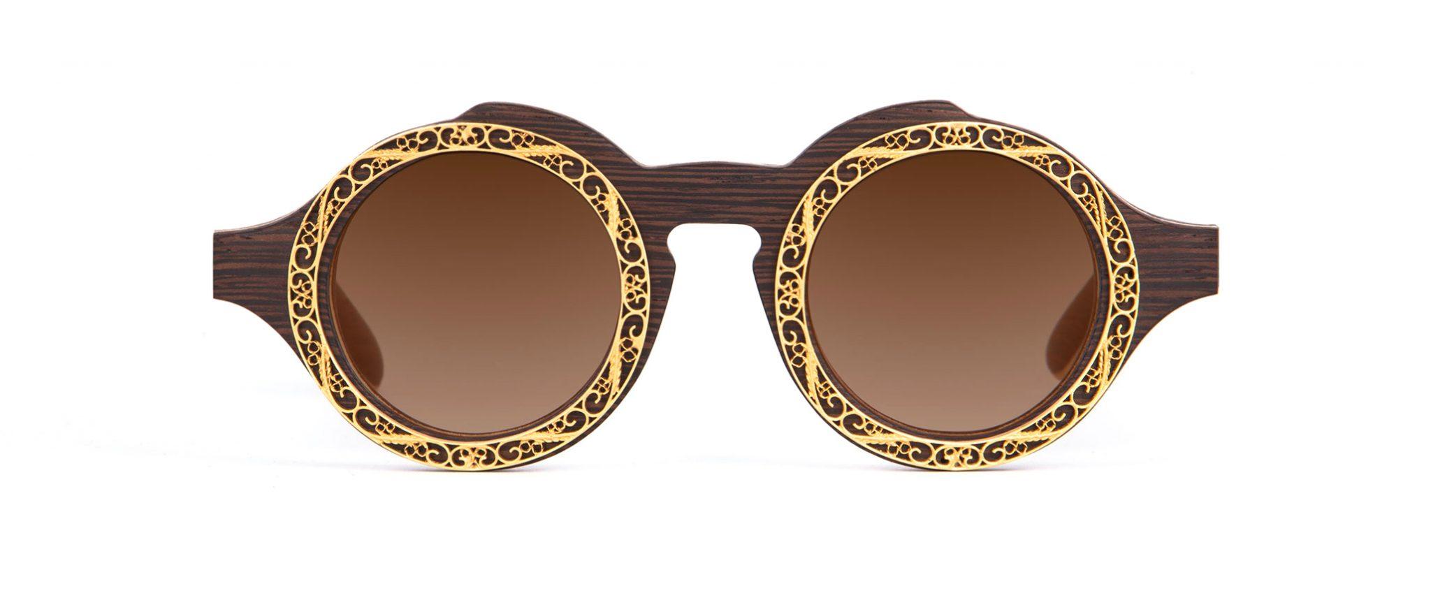 Lella Wenge Round Designer Sunglasses Featuring Jewelry